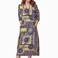 Длинное хлопковое платье с принтом круги