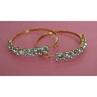 Серьги, кольца, белые стразы в золотой оправе, металл золотистый 001338