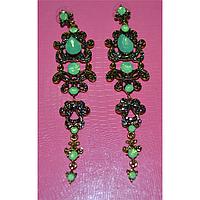 Серьги длинные,бирюзовые камни в красивой оправе, металл золотистого цвета 001343