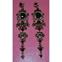 Серьги длинные, темно-фиолетовые камни в красивой оправе, металл золотистого цвета 001344