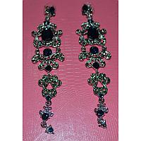 Серьги длинные, темно-синие камни в красивой оправе, металл серебристого цвета 001346