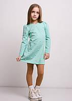 Трикотажное платье для девочки с бусинами