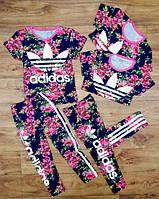 Детский  костюм на  девочку ''Adidas- цветы'' с лосинами, синий