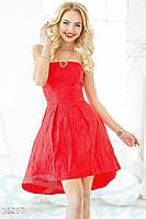 Красивое жаккардовое женское платье с корсетом и пышной асимметричной юбкой