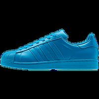 Кроссовки женские Adidas Superstar Supercolor PW Sharp Blue (Голубой)  Оригинал
