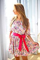 """Х8016  Платье короткое """"Цветочек"""" в расцветках"""