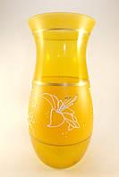 Стеклянная ваза для цветов Лилия желтая (Фигурная - 34,5 х 16 х 15 см.)