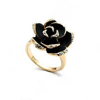 Кольцо Роза с черной эмалью и стразами