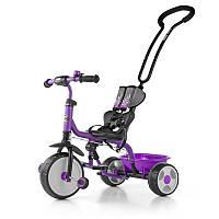 Детский велосипед трёхколёсный Milly Mally Boby violet с подножкой