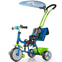 Детский велосипед Milly Mally Boby Deluxe blue-green с подножкой