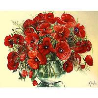 """Картина-раскраска по номерам """"Красные маки в стеклянной вазе"""" 40х50 см ТМ Идейка"""