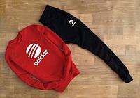 Утеплённый мужской Спортивный костюм Adidas красный( белый принт)