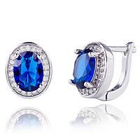 Шикарные серьги с английским замком и синим камнем