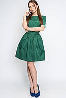 Однотонное платье с пышной юбкой -21149