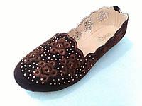 Модные балетки женские  лёгкие под замшу коричневые с 36 по 41 размеры 3945632