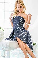 Эффектное женское платье с корсетом и пышной асимметричной юбкой в горошек деним