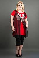 Красивая женская туника батал  ПАУЛА (красный), фото 1