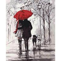 """Картина-раскраска по номерам """"Пара под красным зонтом"""" 40х50 см ТМ Идейка"""