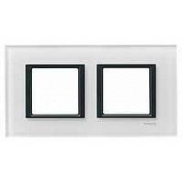 Рамка Schneider Electric Unica белое стекло двухместная