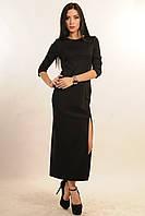 Длинное черное  платье  с высоким разрезом на левой ноге
