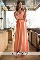 Длинное летнее платье с рукавом 3/4 на манжетах и пуговицах размеры  S,M,L