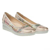 Туфли для активных женщин от steizer (удобные, на белой подошве, с золотистым блеском)