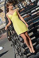 Платье-мини  креп -шифон желтое