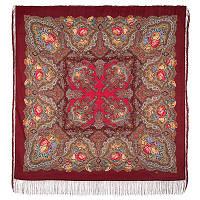 Испанское вино 1171-6, павлопосадский платок шерстяной  с шелковой бахромой