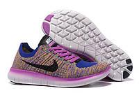 Кроссовки женские  Nike Free Run Flyknit 5.0 Bleu Et Rouge беговые оригинал