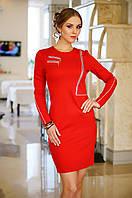 Платье Приталенное из Стеганного Стрейч-Трикотажа Декор из Молний Красное р. S-2XL