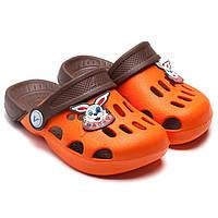 Кроксы  для девочки и мальчика, оранжевые, размер 25-26
