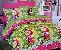 Детское постельное белье для девочек Маша и Медведь, бязь (хлопок 100%)