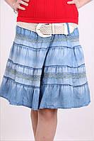 Одноразмерная джинсовая юбка с поясом, фото 1
