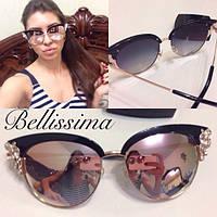 Стильные женские солнцезащитные очки в декорированной оправе k-4316180