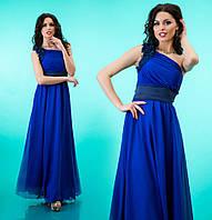 Платье длинное с атласным поясом и асимметричным вырезом - Синее