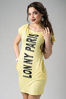 Модное жёлтое платье с надписью и кармашками, короткий рукав. Арт-5416/55