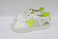 Женские сандалии ND белые натуральная кожа код 0243А