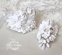 """""""Воздушное облако""""(браслет+бутоньерка) свадебные украшения ручной работы"""