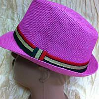 Детская  шляпа малиновая с  цветной лентой