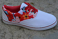 Женские подросток кеды аналог ванс Vans белые цветы