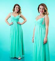 Платье шифоновое женское в пол со стразами на лямках - Бирюзовое