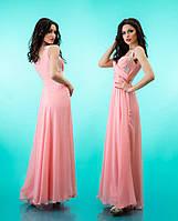 Платье шифоновое женское в пол со стразами на лямках - Розовое