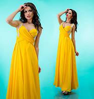 Платье шифоновое женское в пол со стразами на лямках - Желтое