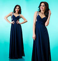 Платье шифоновое женское в пол со стразами на лямках - Темно синее