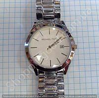 Часы Michael Kors MK-1150 (113880) мужские серебристые на металлическом браслете с календарем белый циферблат