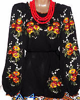 Красивая шифоновая женская вышиванка Жіноча блузка з вишивкою.