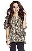 Женская шифоновая блуза коричневого цвета с абстрактным рисунком. Модель 6044, коллекция весна-лето 2016.