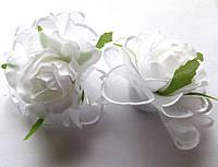 Банты школьные ручной работы белая роза, на резинке