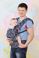 """Эргономичный рюкзак (кенгурушка) """"My baby""""синий джинс (буквы)"""
