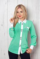 Женская рубашка в горошек с белым воротничком